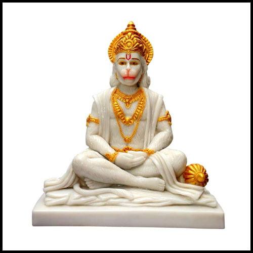 Niraj Art Beautifully Handcrafted Marble Panchmukhi Hanuman Ji